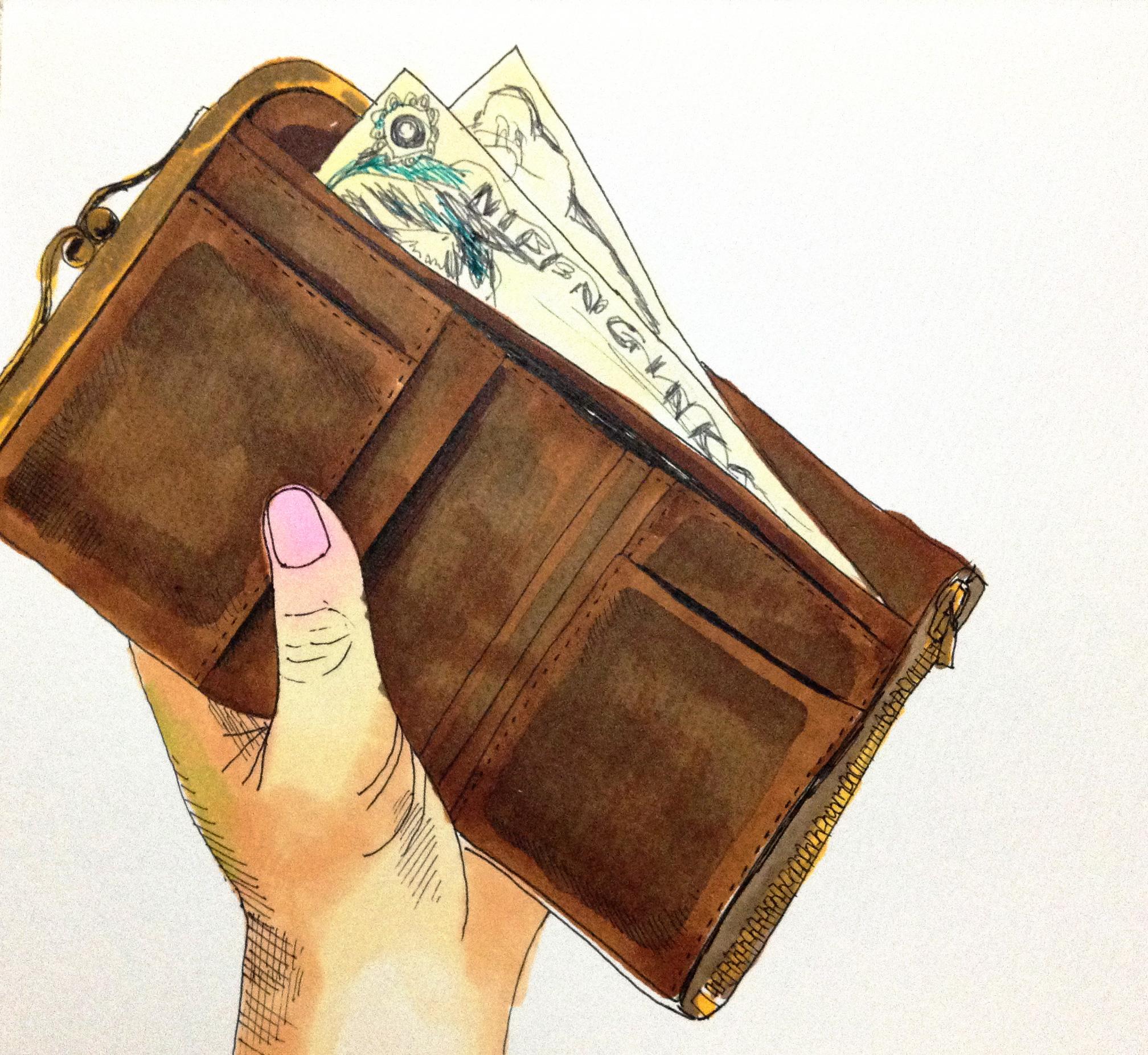 生きてゆくのに大切なお金と財布をコピックで描いたイラスト