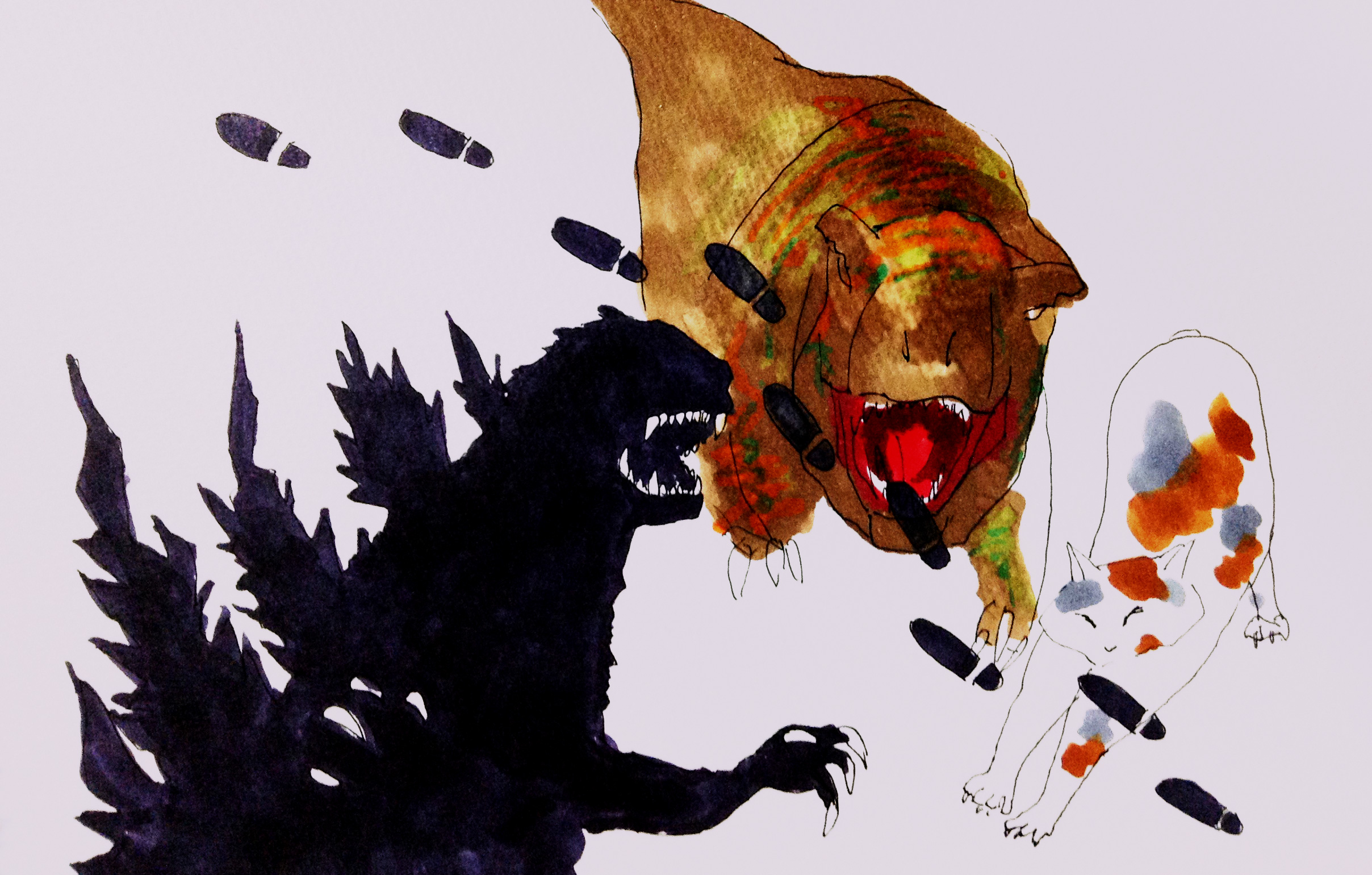 ゴジラ立ち、ティラノサウルス、ネコののびの姿をコピックで描いたイラスト