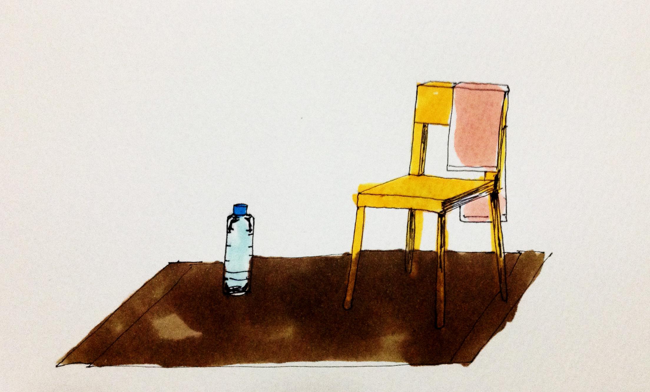 スロトレに必要なマットと椅子をコピックで描いたイラスト