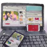 パソコンやスマホタブレットのブルーライトでYouTubeを見すぎているイメージをコピックで描いたイラスト