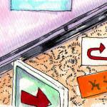 駅構内の野良サインとあな吉手帳に欠かせないフセンのイメージをコピックで描いたイラスト
