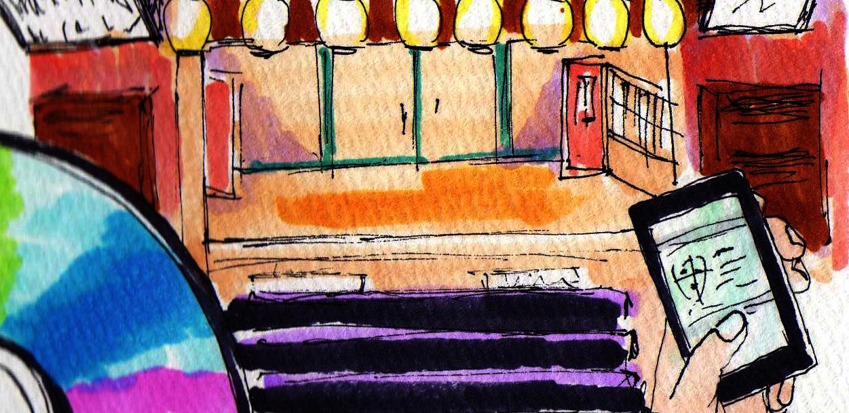 新宿末広亭の内装のイメージをコピックで描いたイラスト