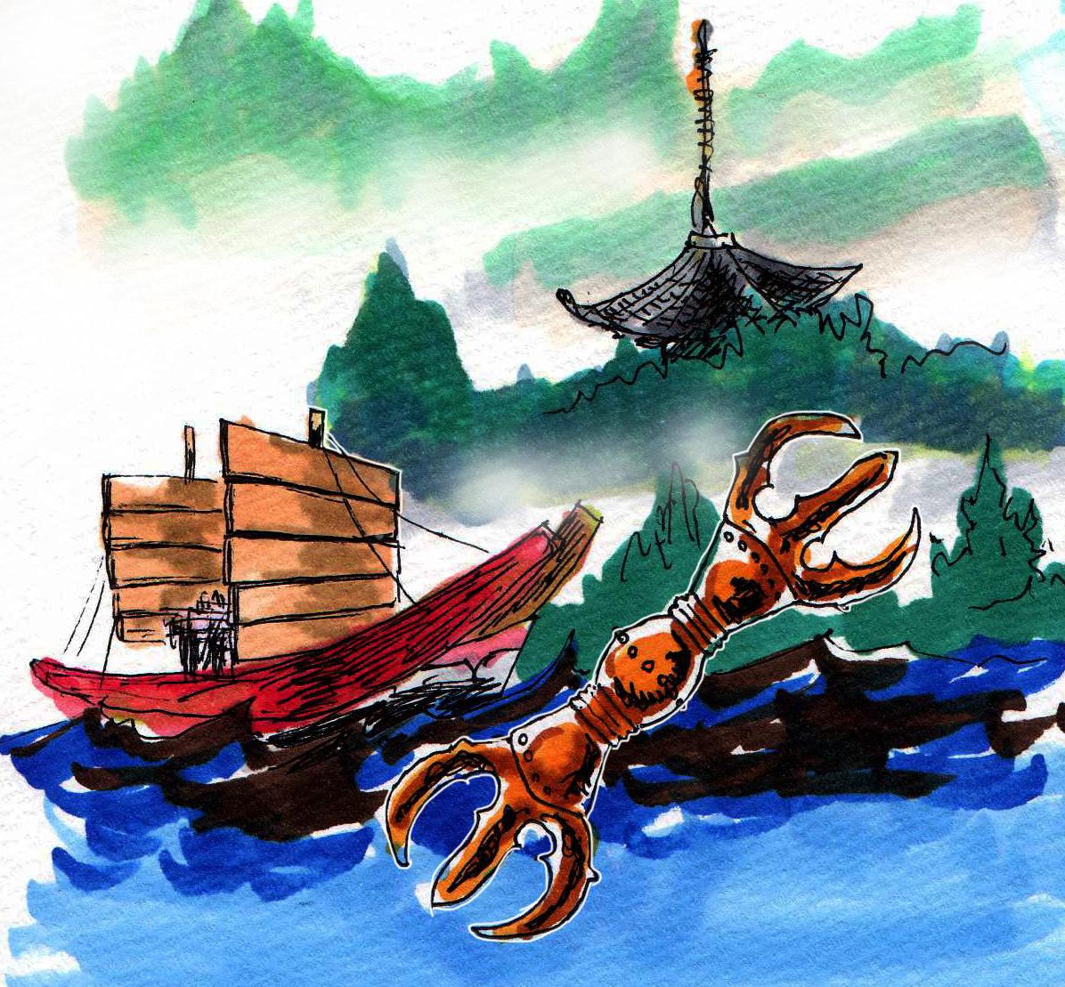 三鈷と遣唐使船と金剛峯寺のイメージをコピックで描いたイラスト