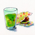 シルク・べっぴん塾で推奨されている野菜ジュースと、たまには食べたいジャンクフードのイメージをコピックで描いたイラスト