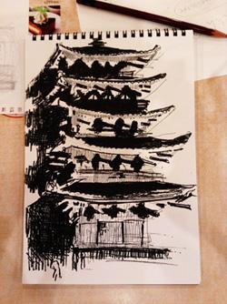 興福寺・五重塔のスケッチ、油性ペン