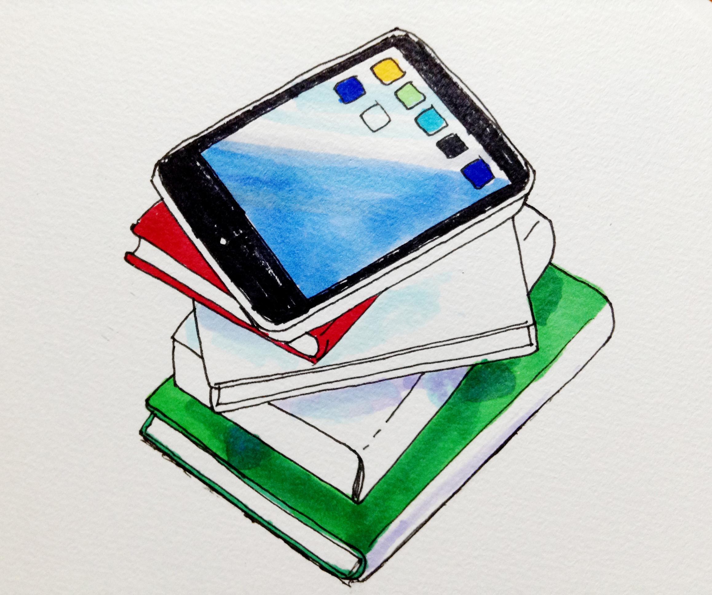 電子書籍端末と紙の本のコピックマーカーを使ってのイラスト