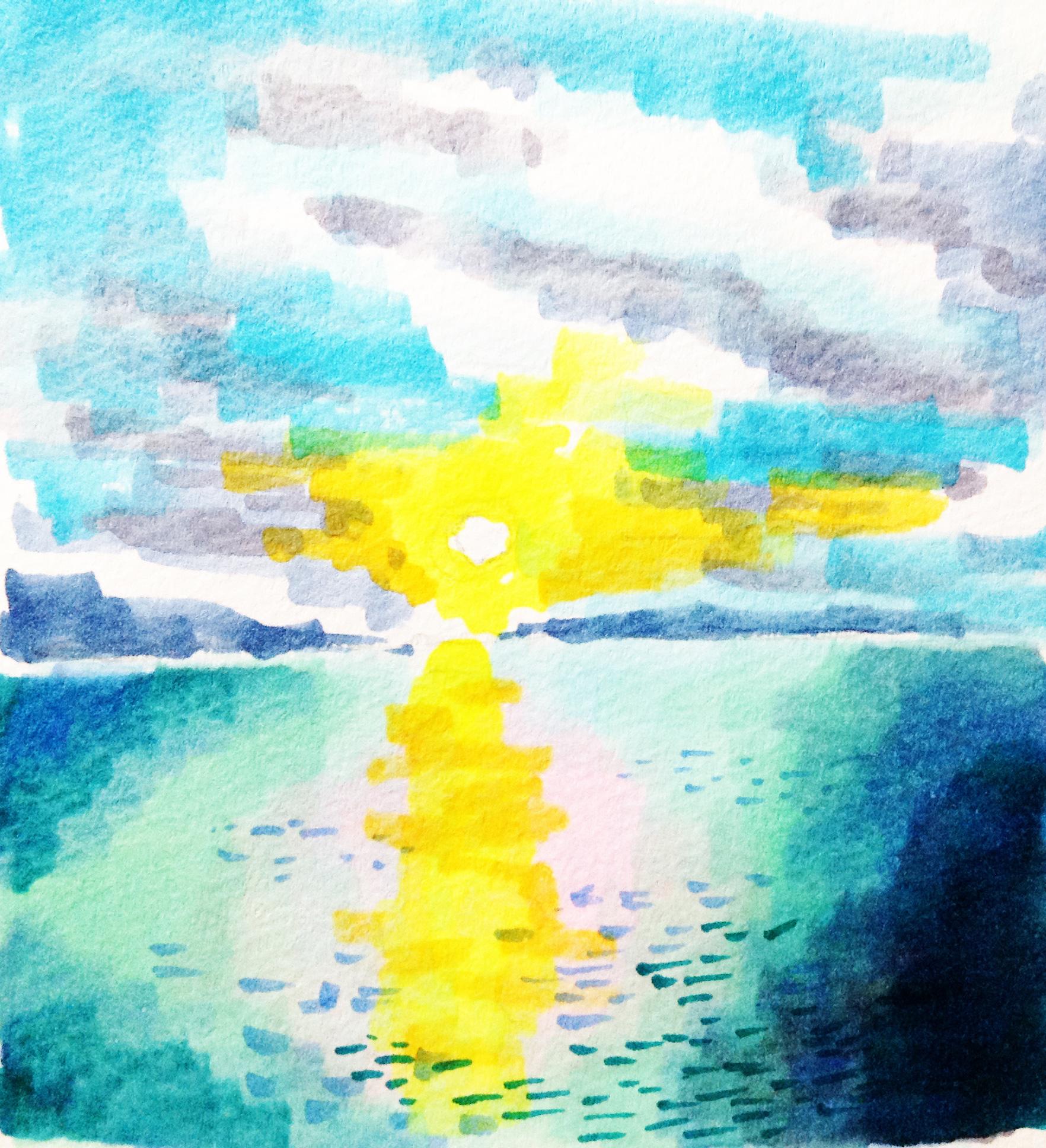 朝日の中に浮かぶ雲をコピックマーカーで描いたイラスト
