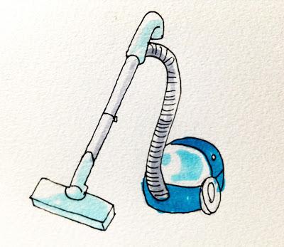 ゴキブリやアリなどの害虫退治に効果的な片付けと掃除のイメージをコピックマーカーを使って描いたイラスト