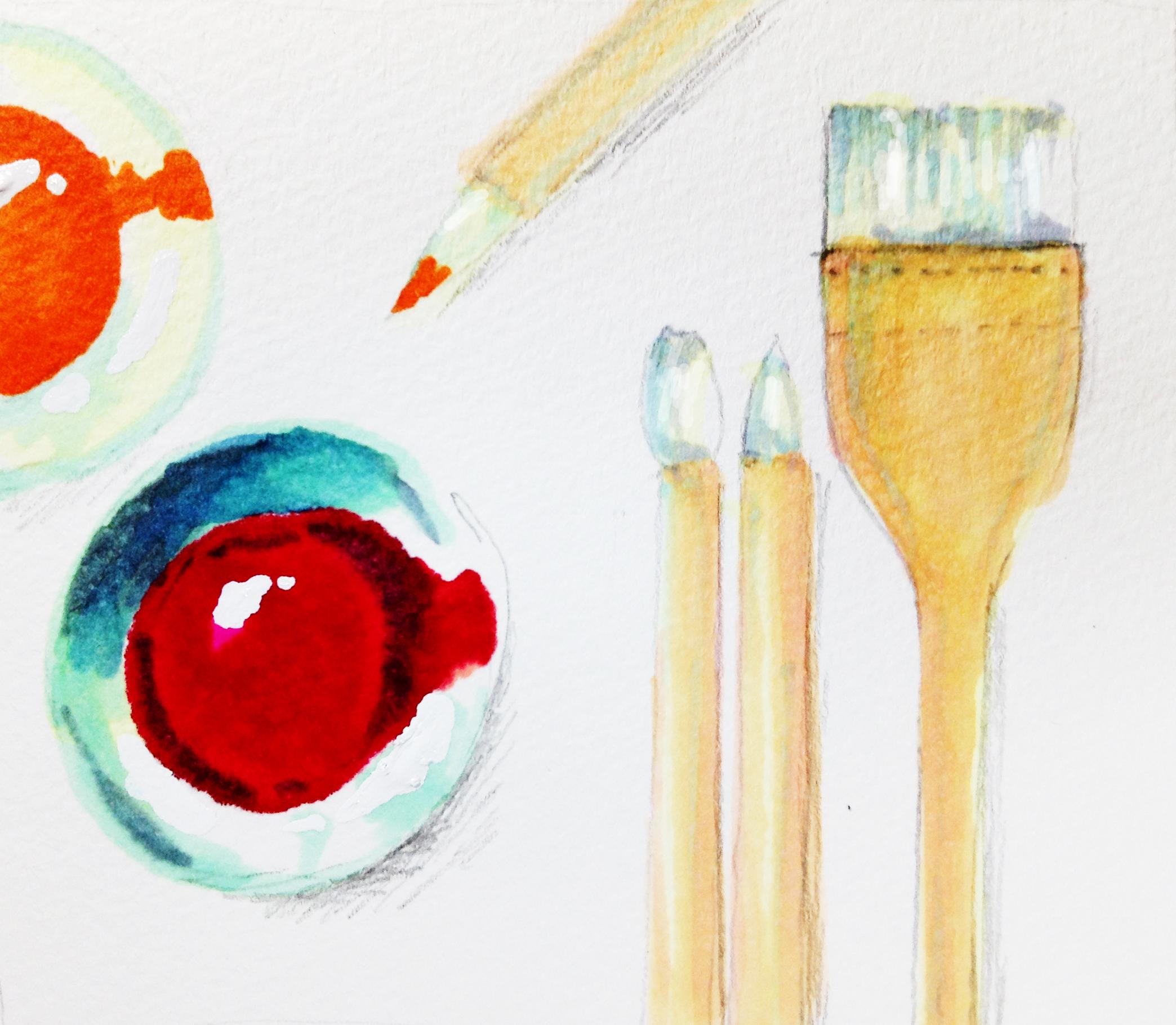日本画で使う用具(筆、絵皿)をコピックマーカーを使って描いたイラスト