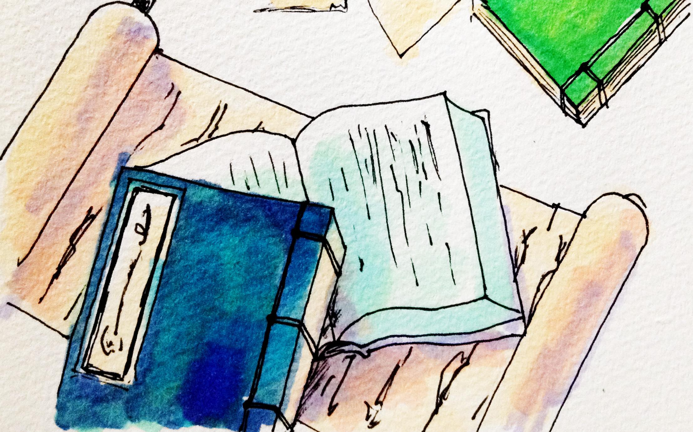 古文書や古い資料のイメージをコピックマーカーで描いたイラスト
