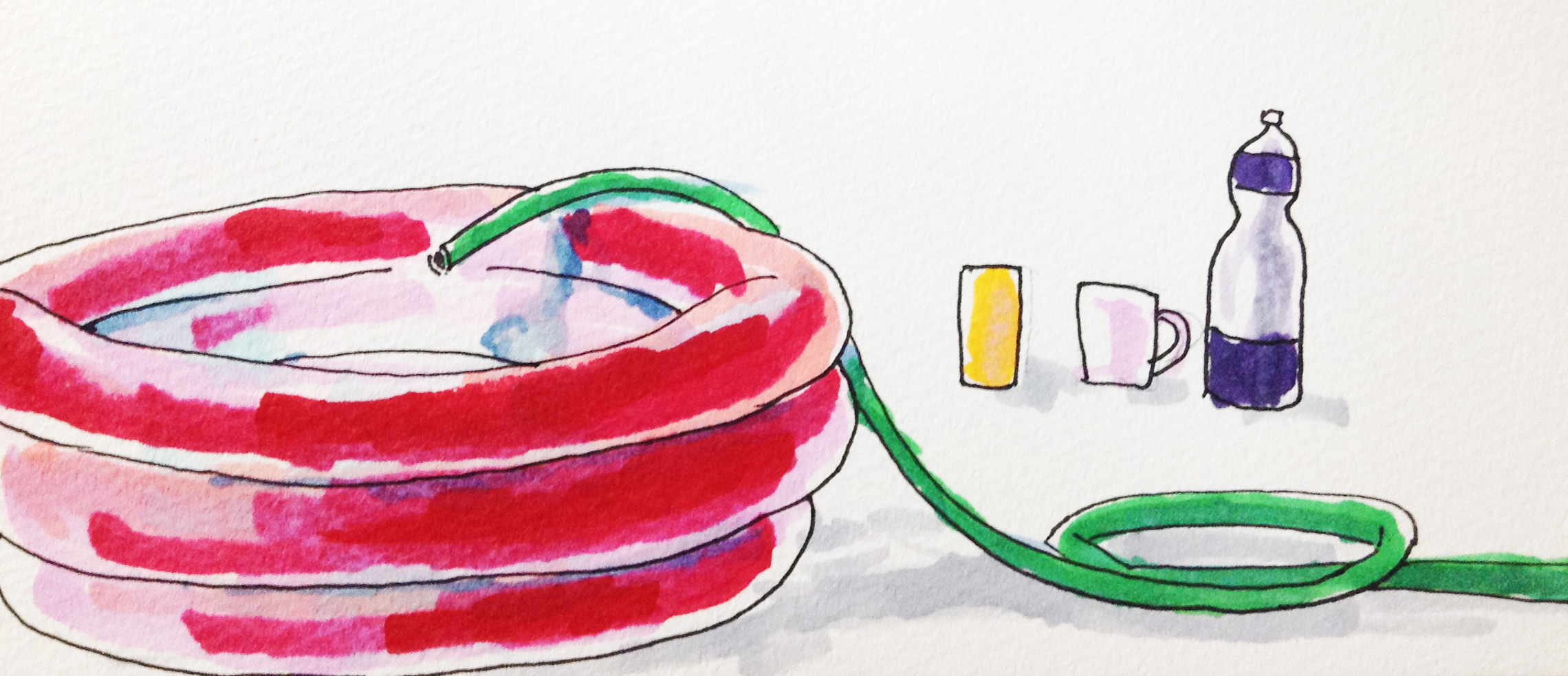 幼いころプールで水遊びをした思い出のイメージをコピックマーカーで描いたイラスト