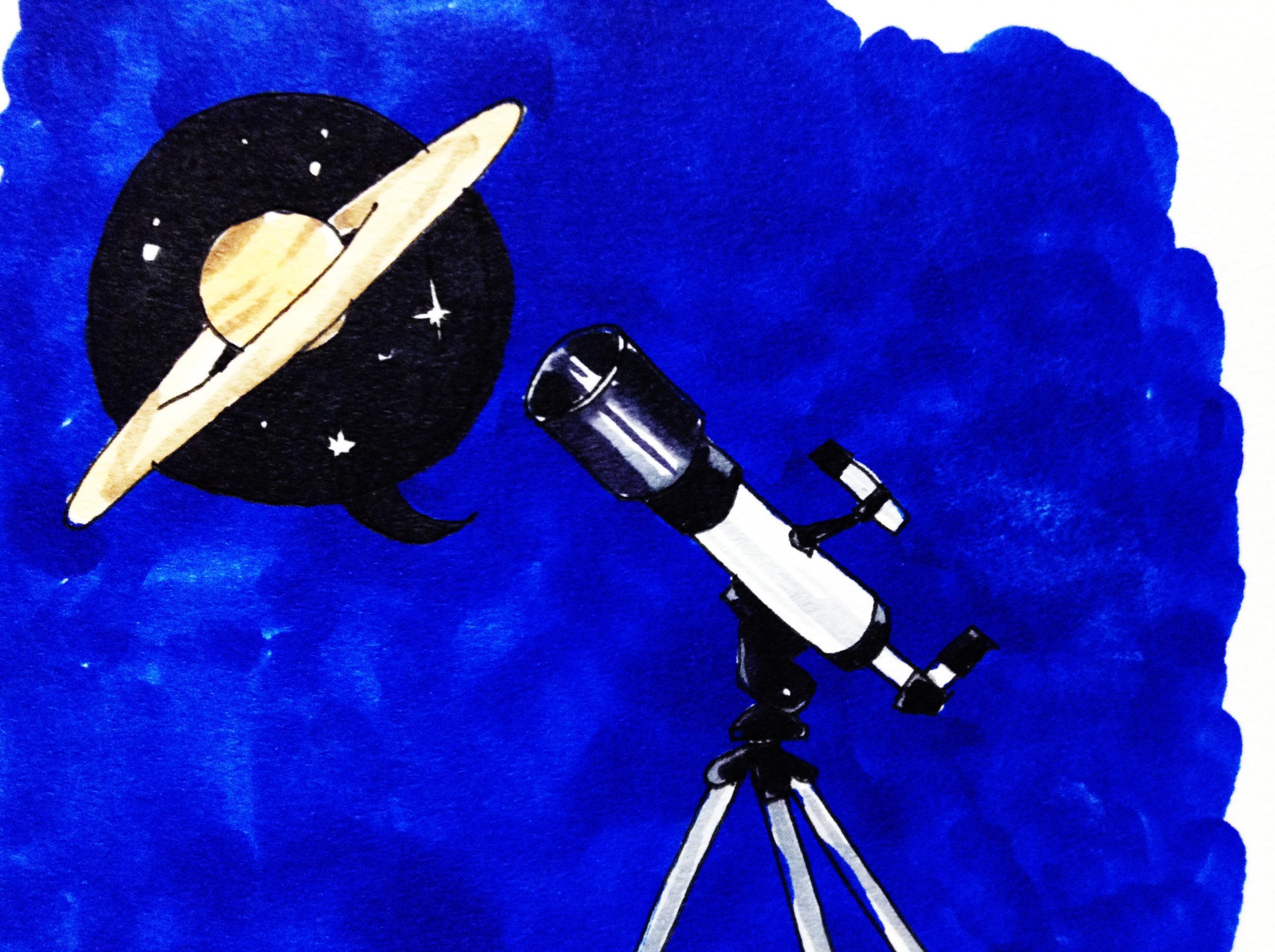 天文台の望遠鏡で土星を観測した思い出のイメージをコピックマーカーで描いたイラスト