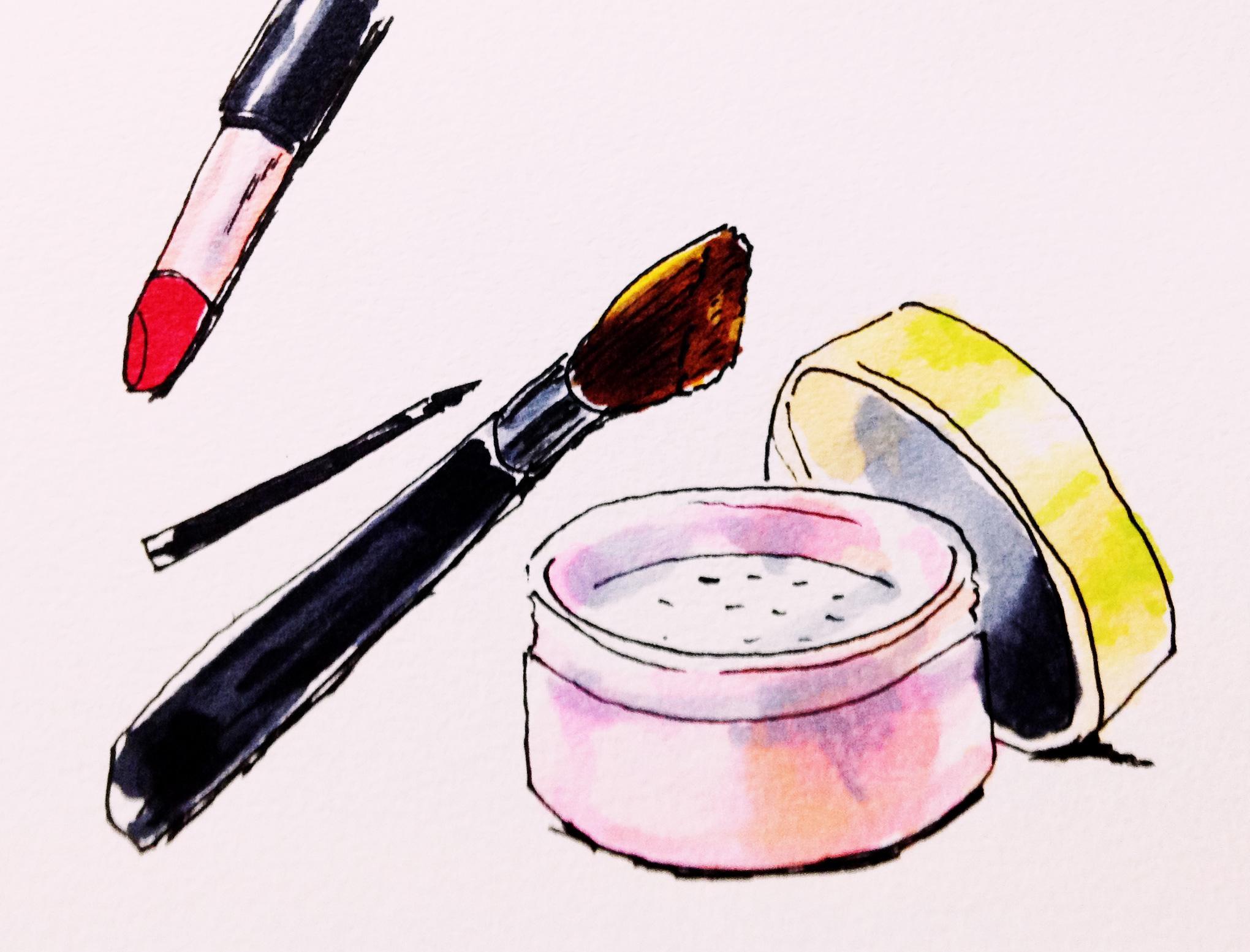 女性的だと感じる化粧品のイメージをコピックマーカーで描いたイラスト