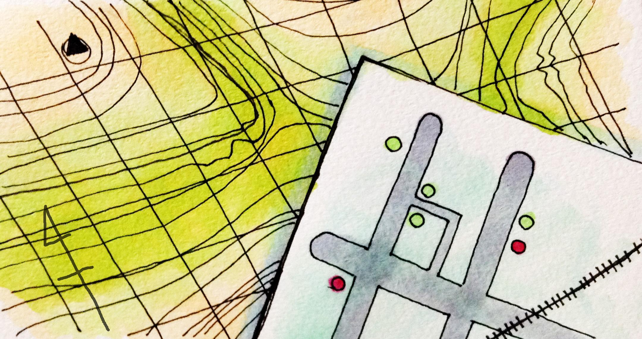 地図のイメージをコピックマーカーで描いたイラスト