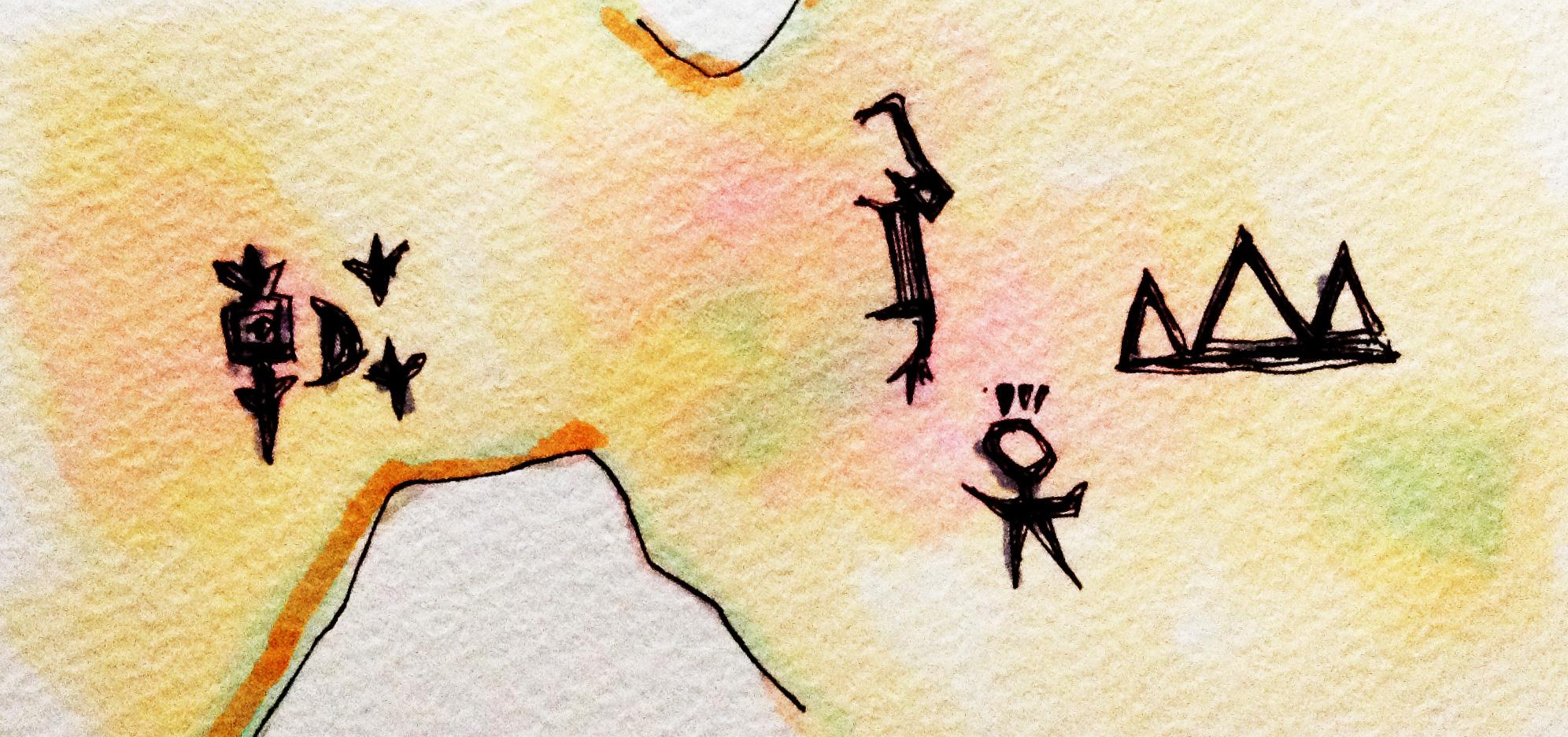 漢字の元である甲骨文字のイメージをコピックマーカーで描いたイラスト