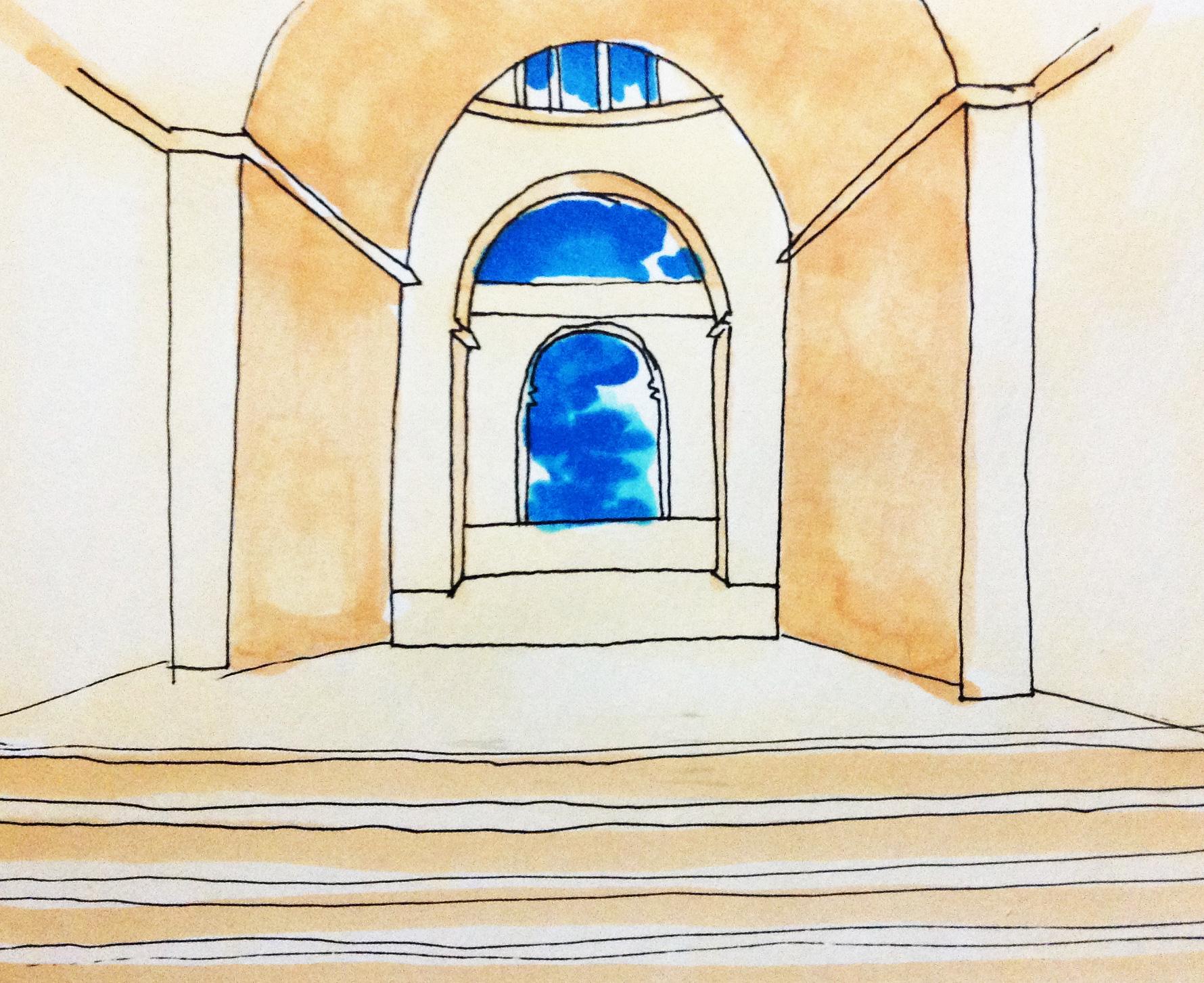 アテナイの学堂のイメージをコピックマーカーで描いたイラスト