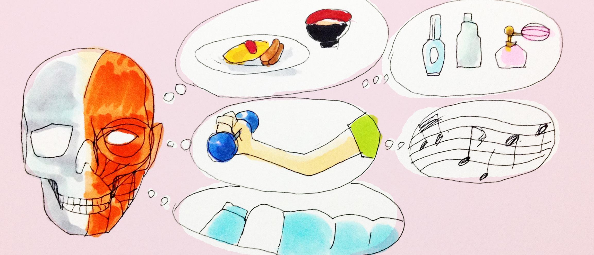 健康に大切な運動や食事、睡眠などのイメージをコピックで描いたイラスト