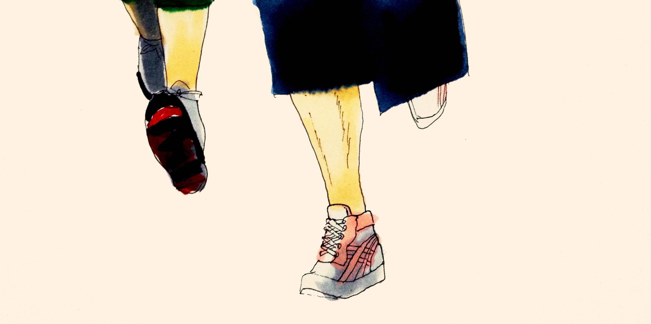 マラソンのランニングのイメージをコピックで描いたイラスト